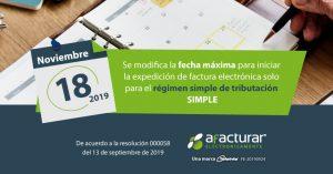 Nueva fecha para facturar electrónicamente – Inscritos Régimen SIMPLE
